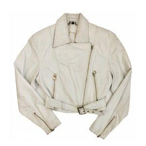 Vntg White Leather Cropped Belted Moto Jacket XXS